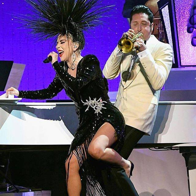 "Lady Gaga performs with bandleader Brian Newman in ""Jazz + Piano"" at Park Theater on Jan. 20, 2 ..."