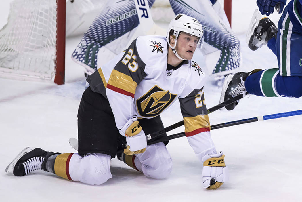 Vegas Golden Knights' Daniel Carr plays during the second period of an NHL hockey game Thursday ...