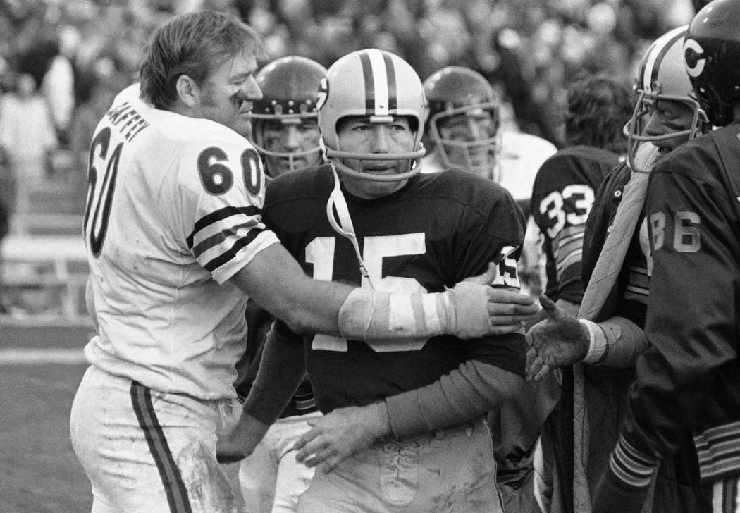FILE - In this Nov. 16, 1970, file photo, Chicago Bears' Lee Roy Caffey (60) congratulates Gree ...