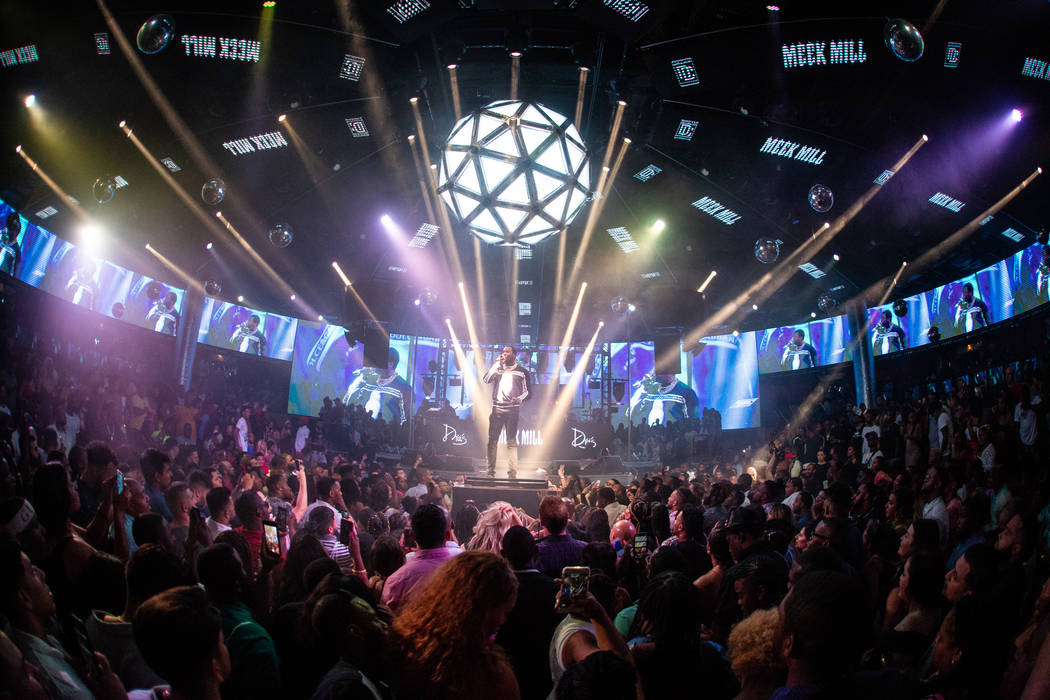 Rapper Meek Mill is shown performing in his residency debut at Drai's Nightclub at the Cromwell ...