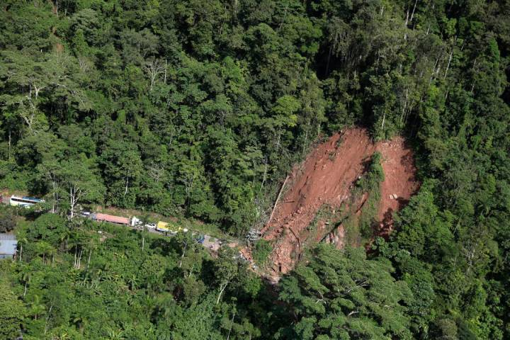 An aerial view shows a landslide caused by a quake in Yurimaguas, Peru, Sunday, May 26, 2019. A ...