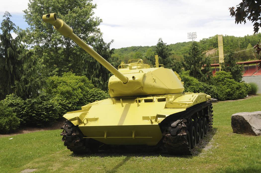 This May 20, 2019 photo shows a M-41 Bulldog World War II period tank that sits at the entrance ...