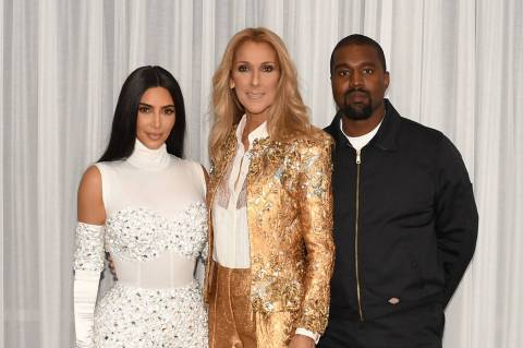 Kim Kardashian and Kanye West are shown with Celine Dion at Caesars Palace on Saturday, May 25, ...