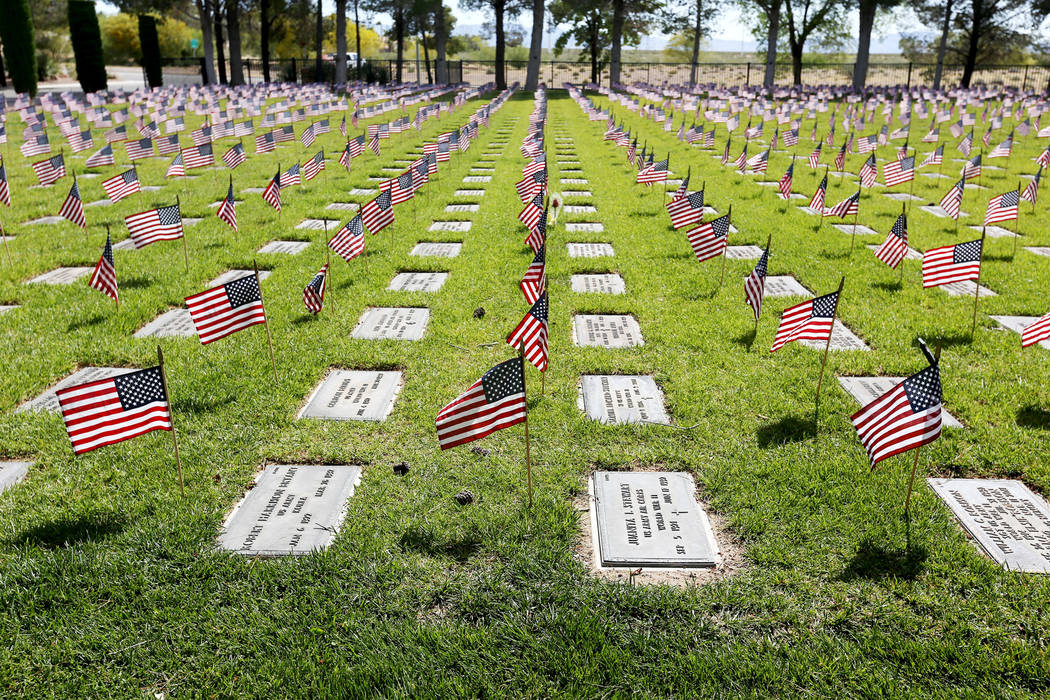 The Southern Nevada Veterans Memorial Cemetery in Boulder City, Sunday, May 26, 2019. (Rachel A ...
