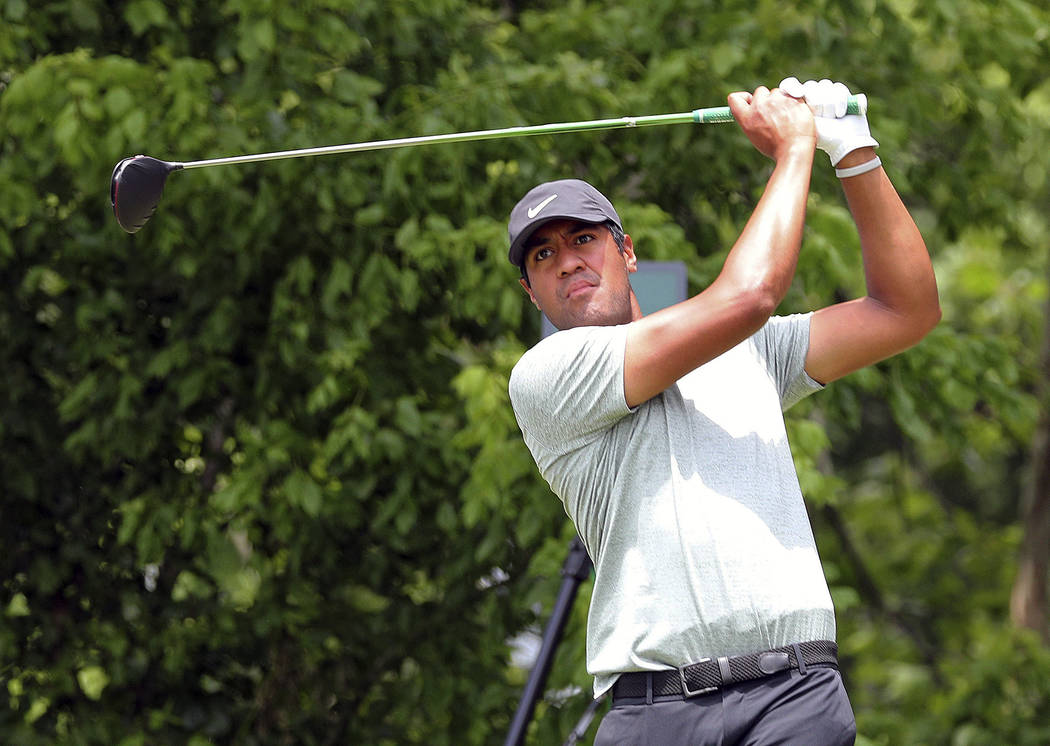 Tony Finau hits off the sixth tee in the final round of the Charles Schwab Challenge golf tourn ...
