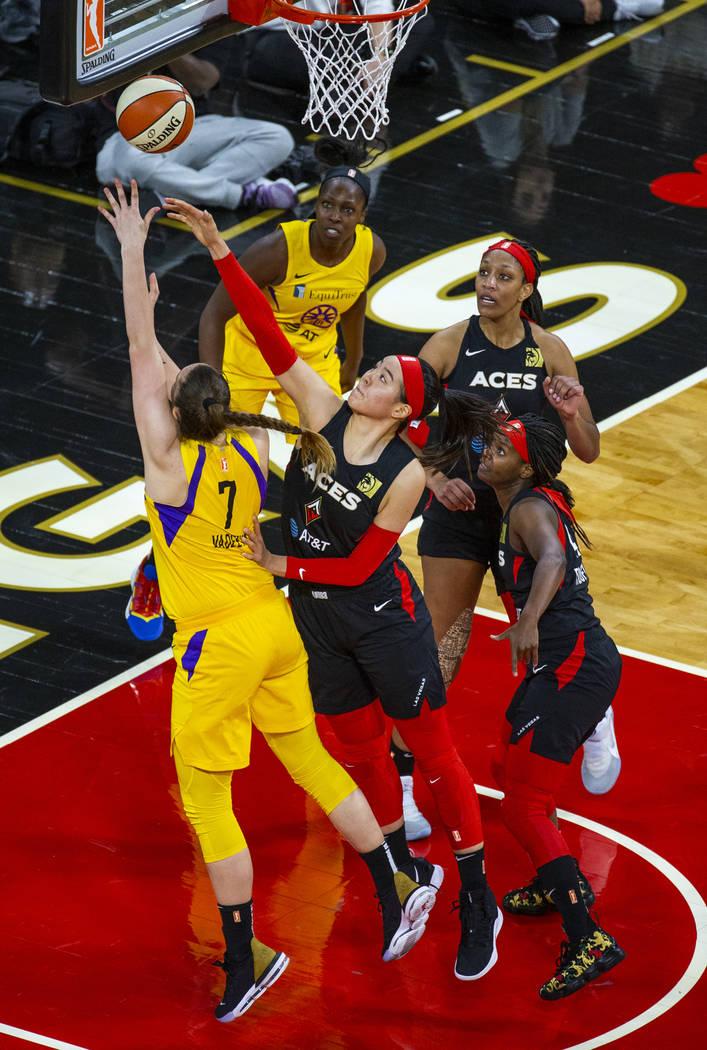 Los Angeles Sparks forward/center Maria Vadeeva (7) has a shot rejected by Las Vegas Aces cente ...