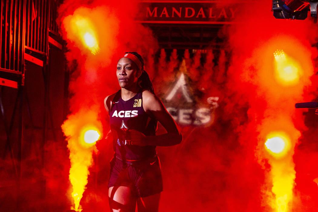 Las Vegas Aces center A'ja Wilson (22) is introduced before the team faces the Los Angeles Spar ...