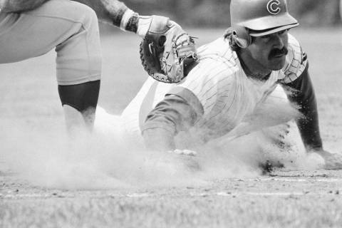 Chicago Cubs Bill Buckner takes some soil samples on his way back to first base in home action ...