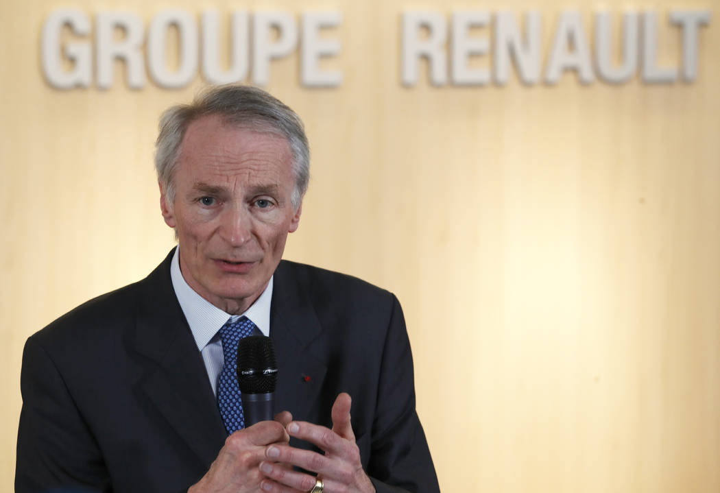 FILE - This Jan.24, 2019 file photo shows Jean-Dominique Senard after being appointed Renault c ...