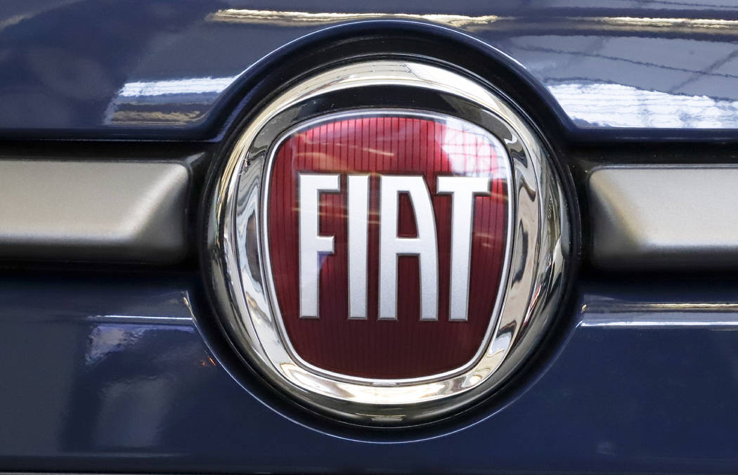 FILE - In this Feb. 14, 2019, file photo, this is the Fiat logo is mounted on a 2019 500 L on d ...