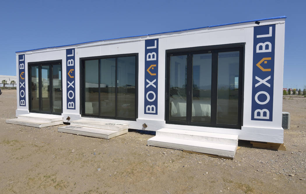 Part of the exterior of a Boxabl home is shown in a lot near the company offices at 6120 N. Hol ...