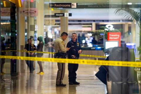 An LVMPD crime scene investigator and officer are inside the Fashion Show mall on the Strip aft ...