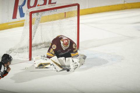 Chicago Wolves goaltender Oscar Dansk makes a save during the second period Monday, May 27, 201 ...