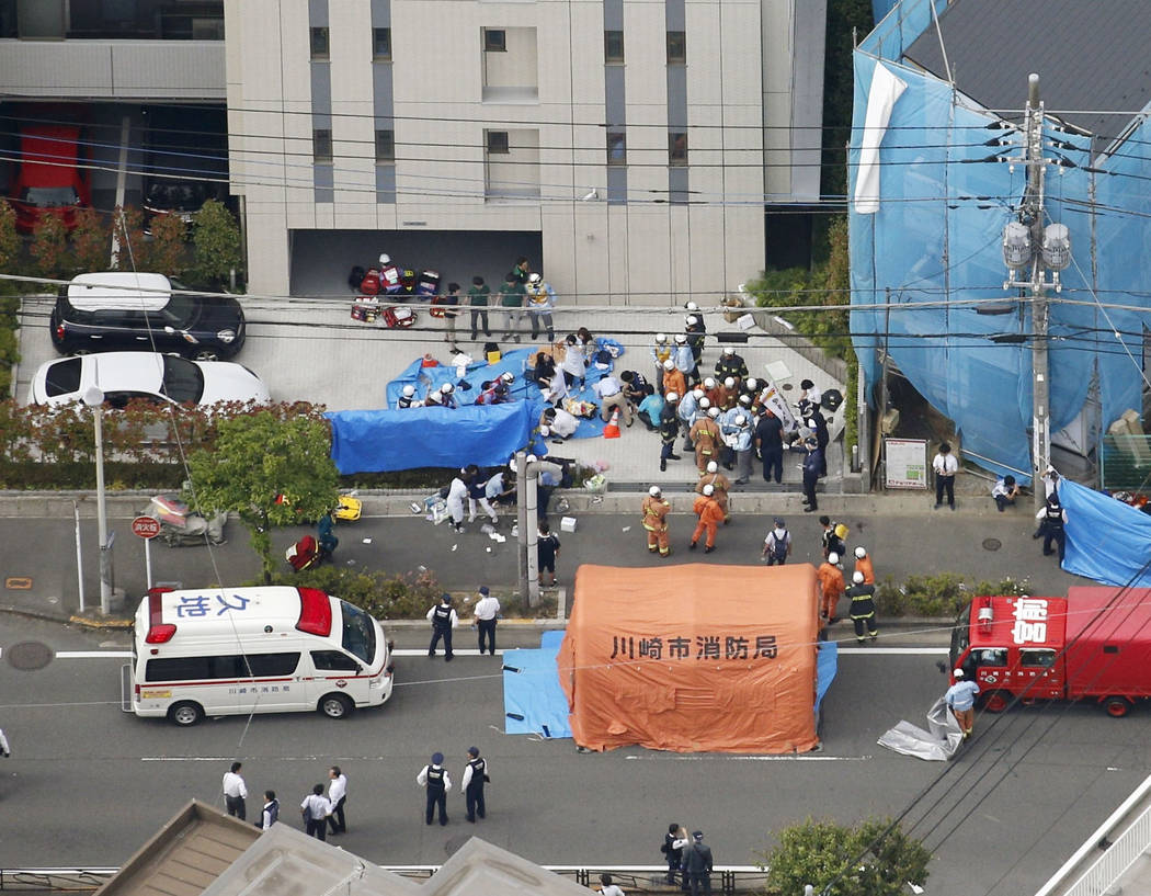 This aerial photo shows the scene of an attack in Kawasaki, near Tokyo Tuesday, May 28, 2019. A ...