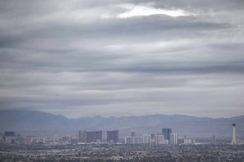 Dark clouds move across the Las Vegas Valley on Monday, Jan. 14, 2019. A 30 percent chance of r ...