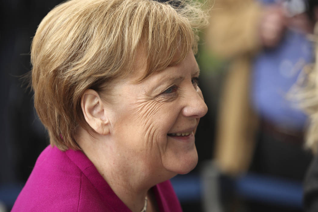 German Chancellor Angela Merkel arrives for a meeting of the European People's Party prior to a ...