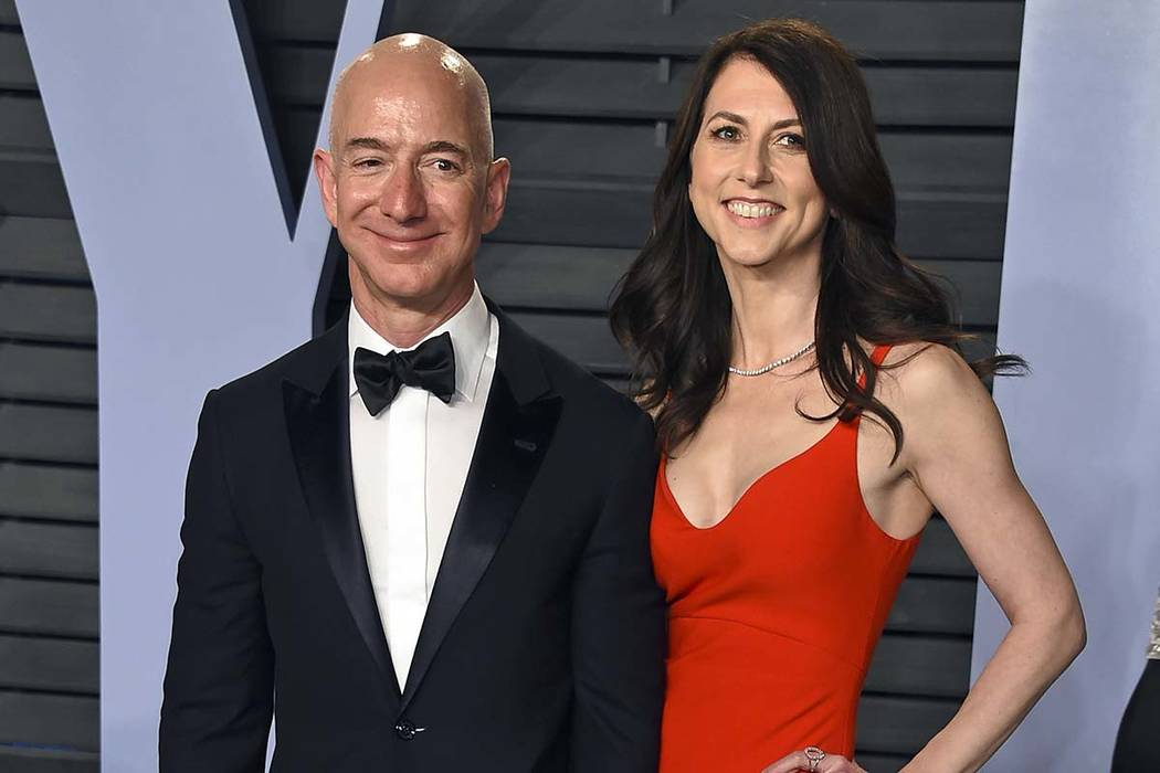 In a March 4, 2018, file photo, Jeff Bezos and wife MacKenzie Bezos arrive at the Vanity Fair O ...