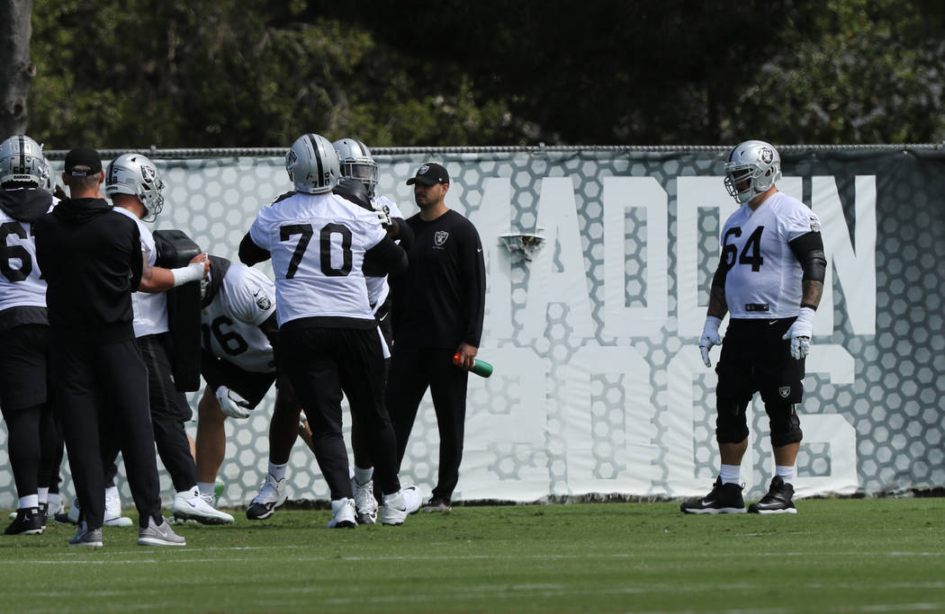 Oakland Raiders offensive guard Richie Incognito (64) watches his teammates drill during an off ...
