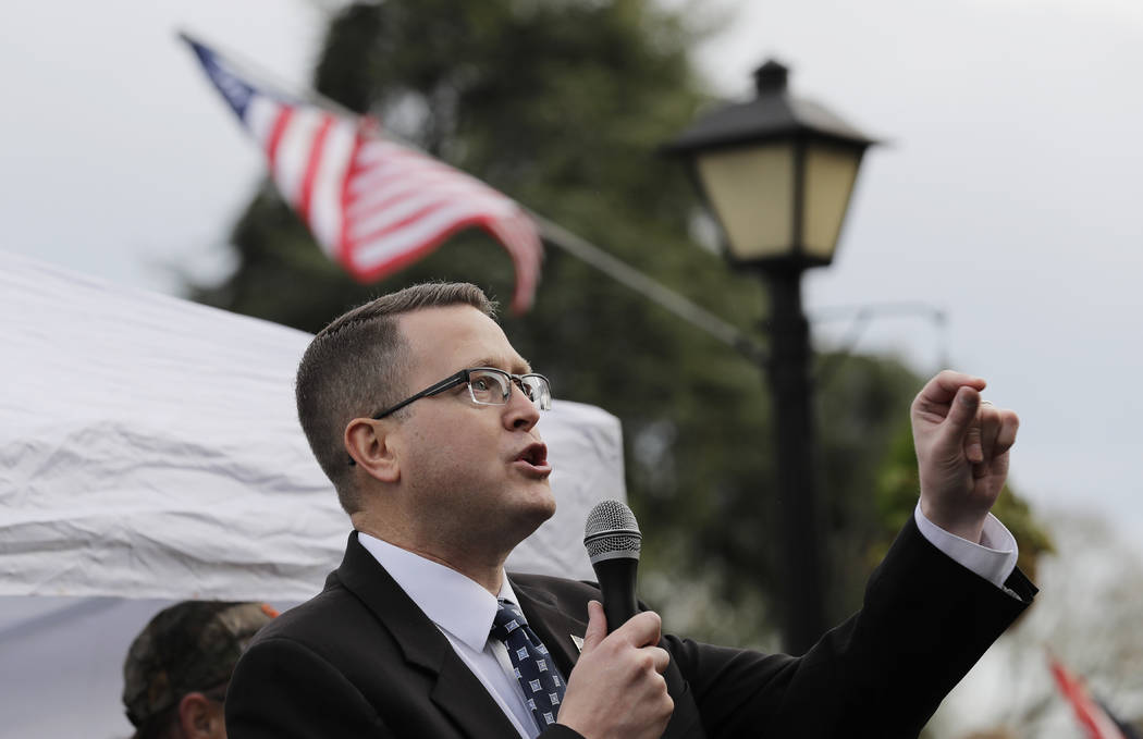 In a Jan. 18, 2019, file photo, Rep. Matt Shea, R-Spokane Valley, speaks at a gun-rights rally ...