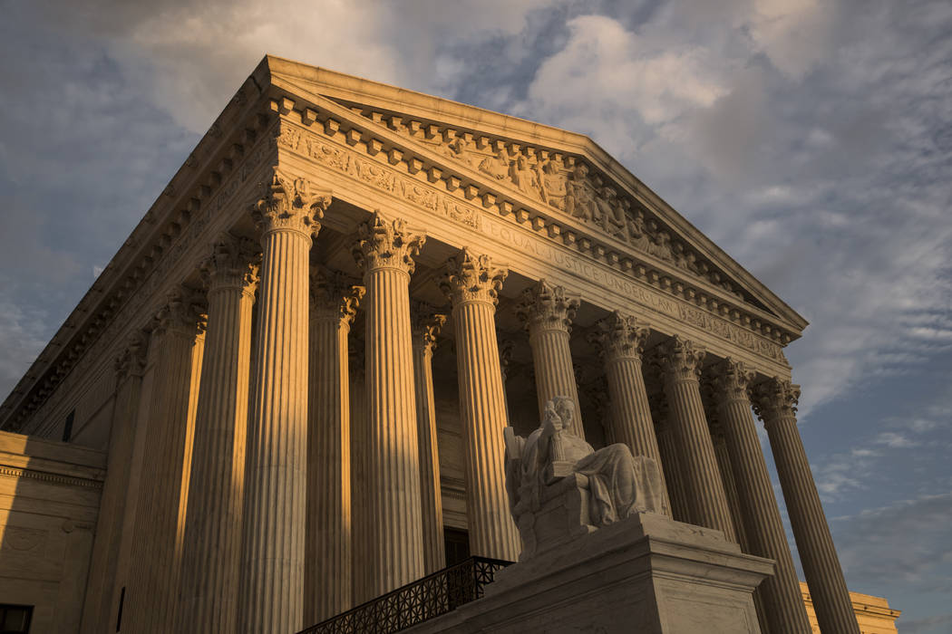 In this Oct. 10, 2017, file photo, the Supreme Court in Washington, at sunset. The Supreme Cour ...