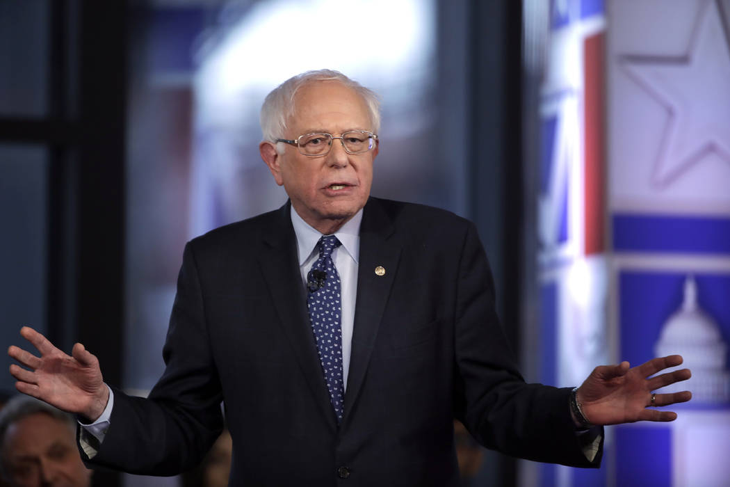 Democratic presidential candidate Sen. Bernie Sanders, I-Vt., speaks April 15, 2019, during a F ...