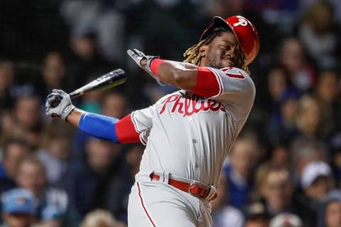 Philadelphia Phillies' Odubel Herrera bats against the Chicago Cubs during the fifth inning of ...