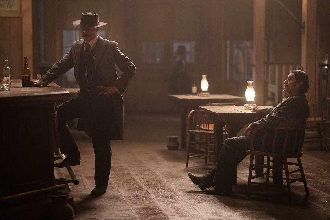 "Timothy Olyphant, left, and Ian McShane in ""Deadwood: The Movie."" (Warrick Page/HBO)"