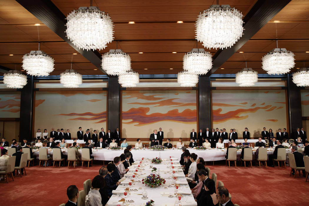 U.S. President Donald Trump speaks during a State Banquet hosted by Japanese Emperor Naruhito a ...