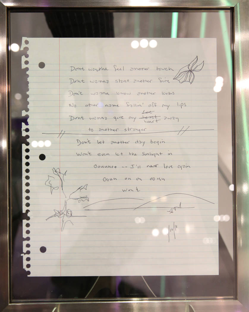 """Framed handwritten lyrics to """"I'will Never Love Again"""", written by Jackson Maine (Bra ..."""