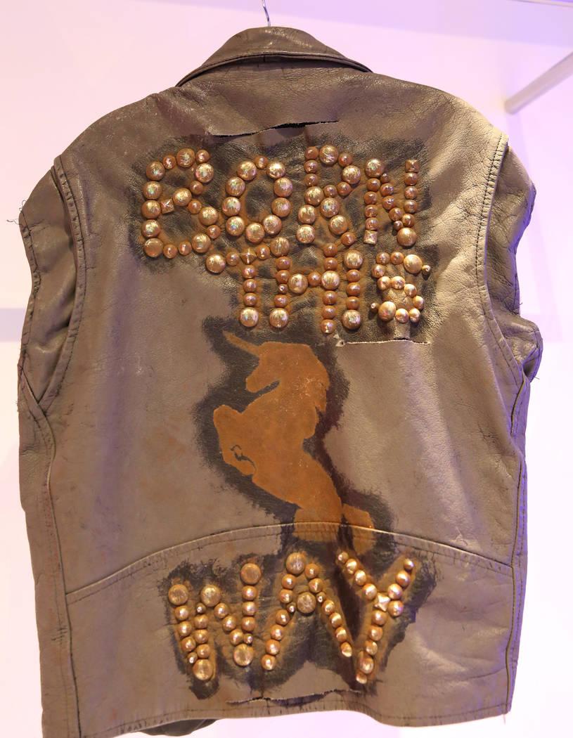 "Custom ""Born This Way"" leather jacket worn by Lady Gaga is displayed at Haus of Gaga ..."