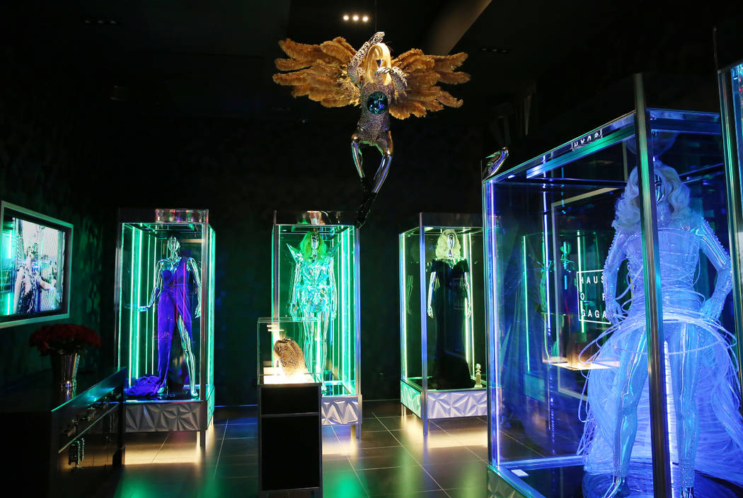 Custom dresses and accessories worn by Lady Gaga are displayed at Haus of Gaga store during a m ...