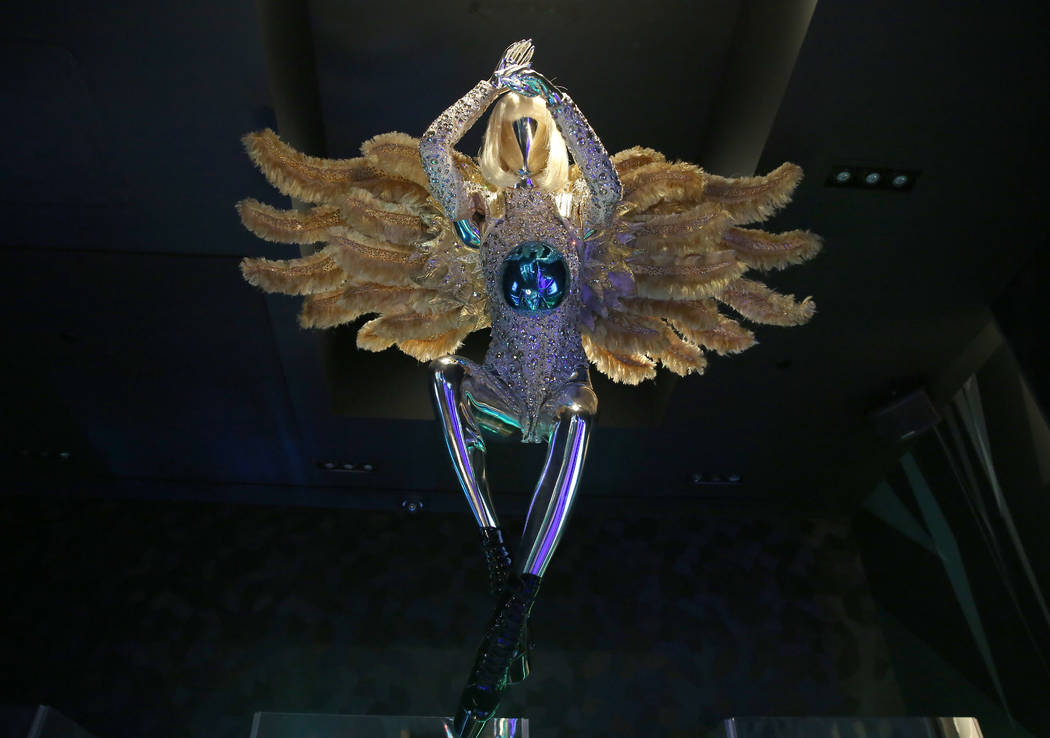 Custom accessories worn by Lady Gaga are displayed at Haus of Gaga store during a media preview ...