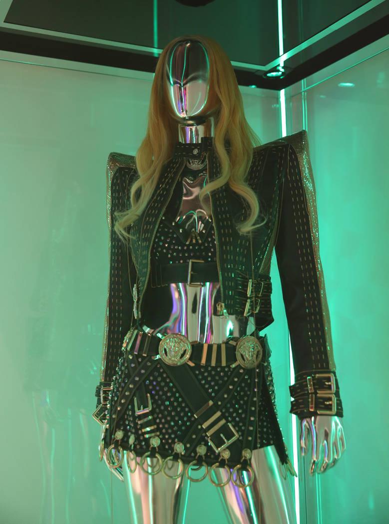 """Custom """"Gold/Black'' ensemble worn by Lady Gaga is displayed at Haus of Gaga store during ..."""