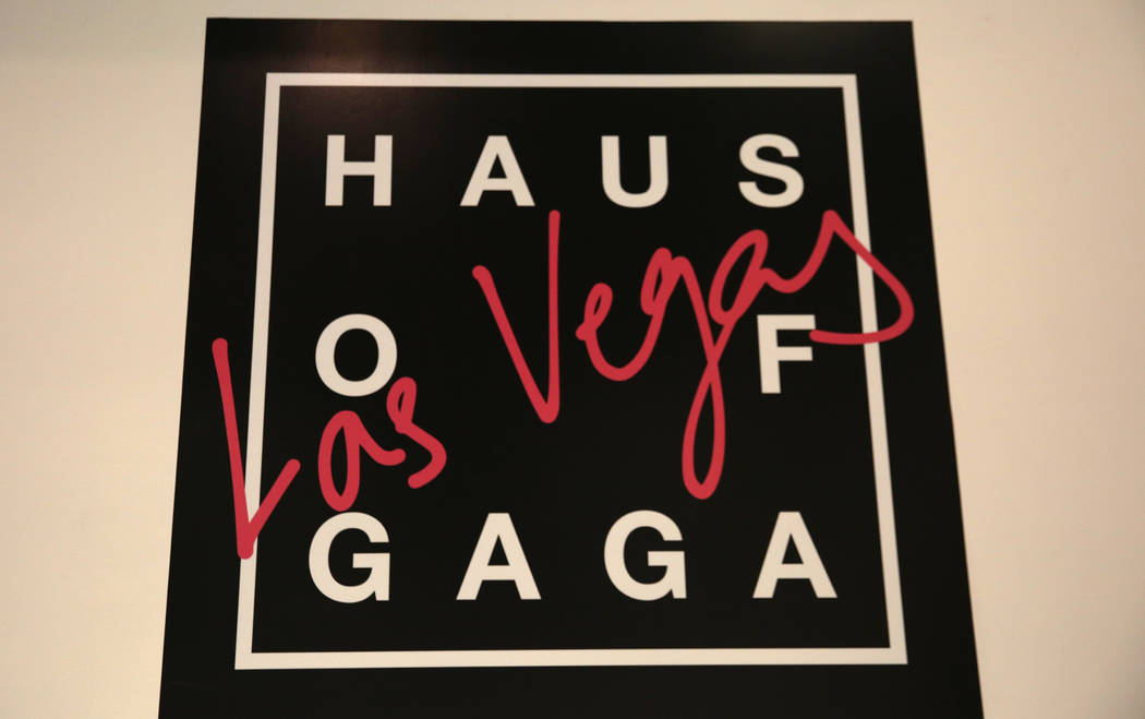 Haus of Gaga store sign is displayed during a media preview on Wednesday, May 29, 2019, in Las ...