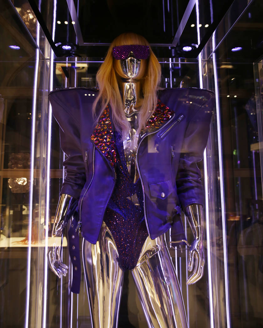 Custom purple leather Moto Jacket worn by Lady Gaga is displayed at Haus of Gaga store during a ...