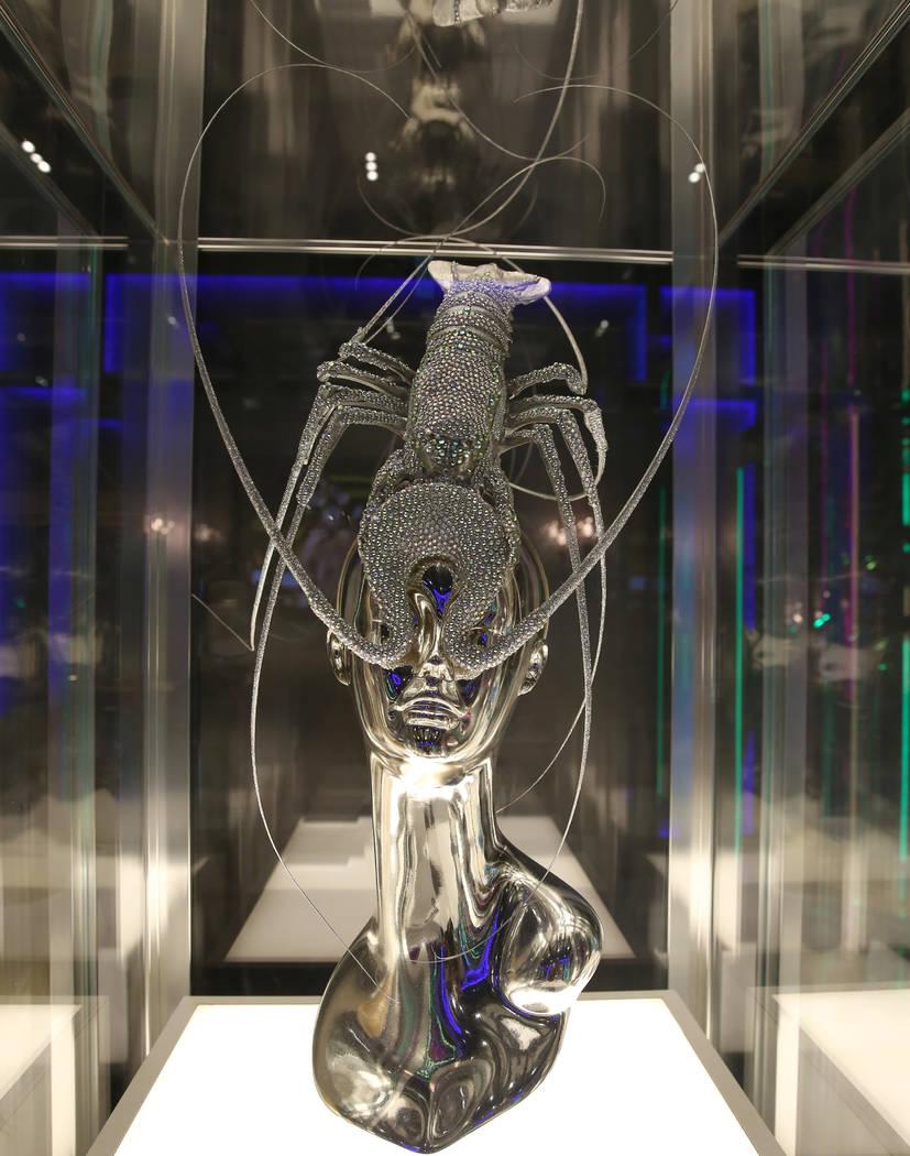 "Custom ""LOBSTER"" headpiece worn by Lady Gaga is displayed at Haus of Gaga store durin ..."