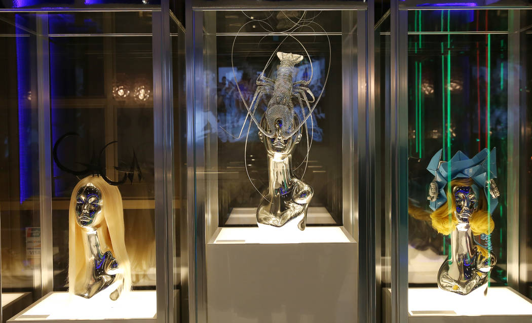 Custom headpieces worn by Lady Gaga are displayed at Haus of Gaga store during a media preview ...