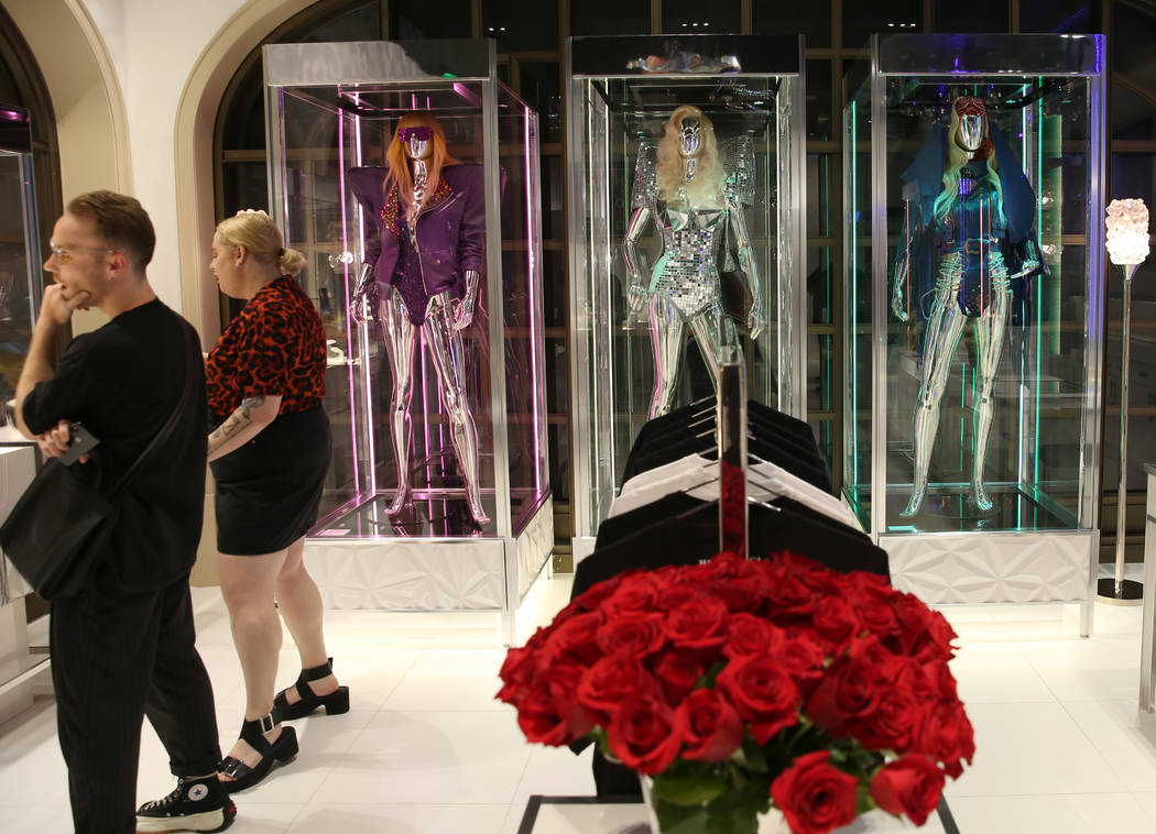 Custom dresses worn by Lady Gaga are displayed at Haus of Gaga store during a media preview on ...