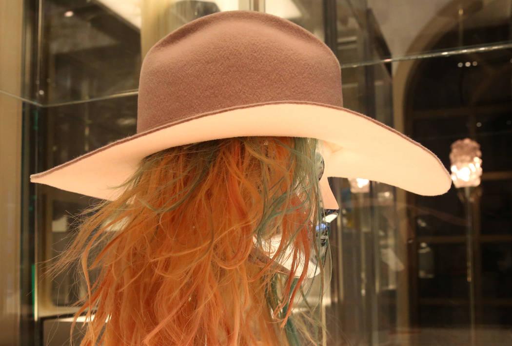 "Custom ""Millennial Pink"" wide-brim cowboy hat worn by Lady Gaga is displayed at Haus ..."
