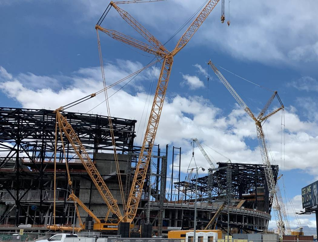 Steel canopy truss number 12 of 26 being installed on the Las Vegas stadium on May 27, 2019. (M ...