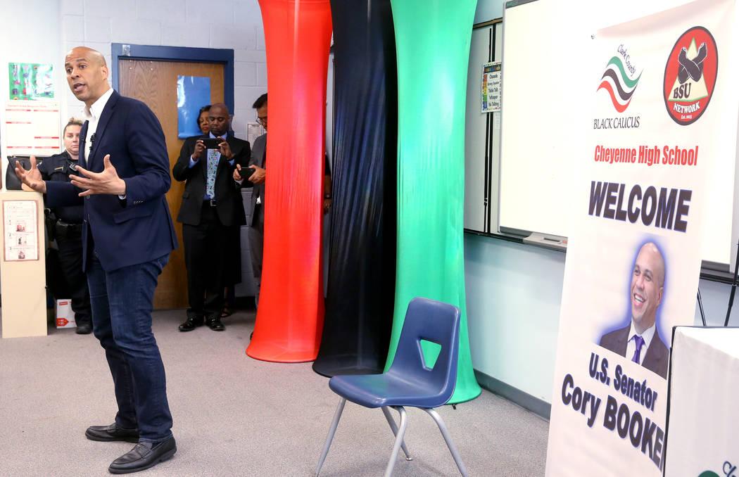 Presidential hopeful Sen. Cory Booker, D-N.J., speaks during Student Conversation with Cory hos ...