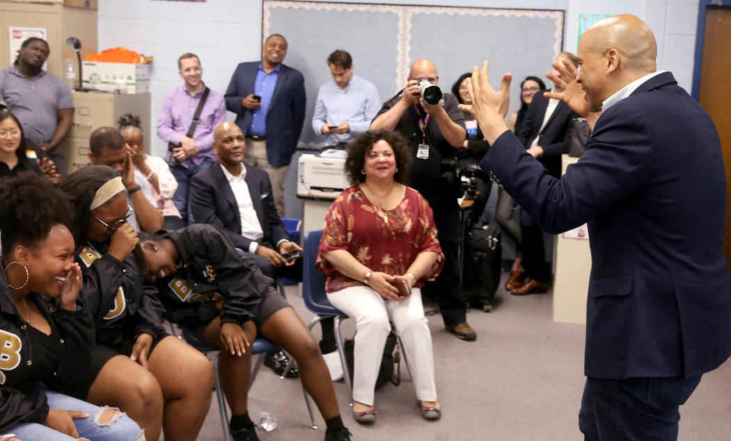 Presidential hopeful Sen. Cory Booker, D-N.J., jokes about students not having questions, from ...