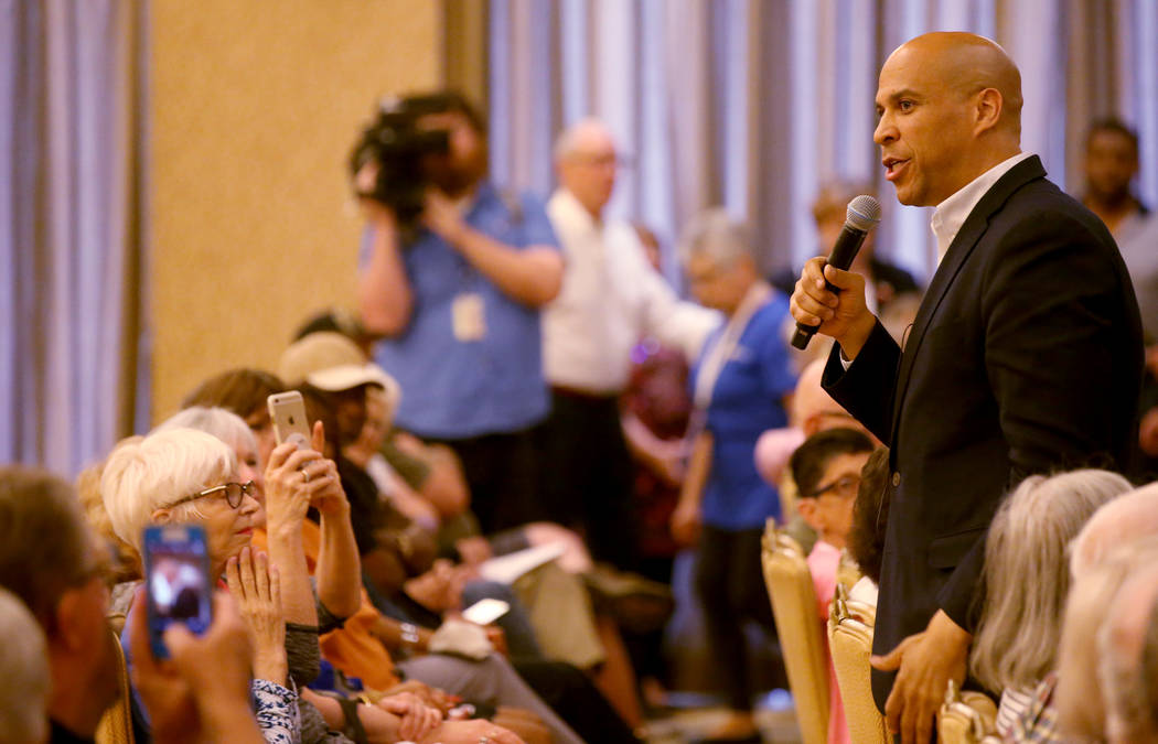 Presidential hopeful Sen. Cory Booker, D-N.J., speaks during a meet-and-greet at the Anthem Cen ...