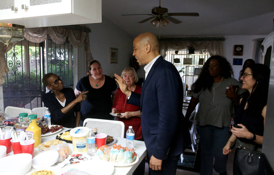 Presidential hopeful Sen. Cory Booker, D-N.J., speaks at a Miracle Workers House Party in Las V ...