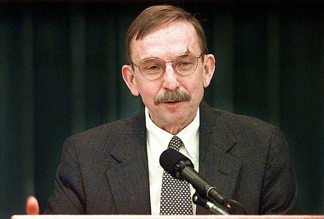 FILE - In this May 1, 1998, file photo, U.S. District Judge Richard Matsch speaks to a Law Day ...