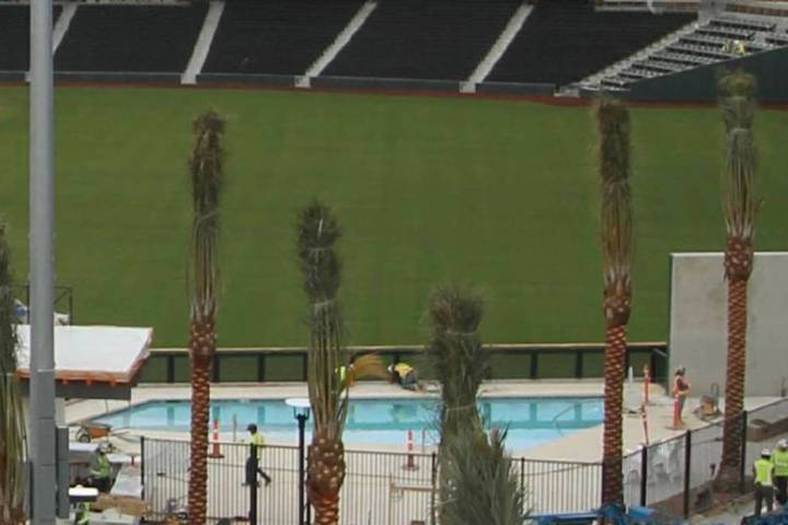 The pool area at Las Vegas Ballpark, home of the Pacific Coast League Las Vegas Aviators. (Mick ...