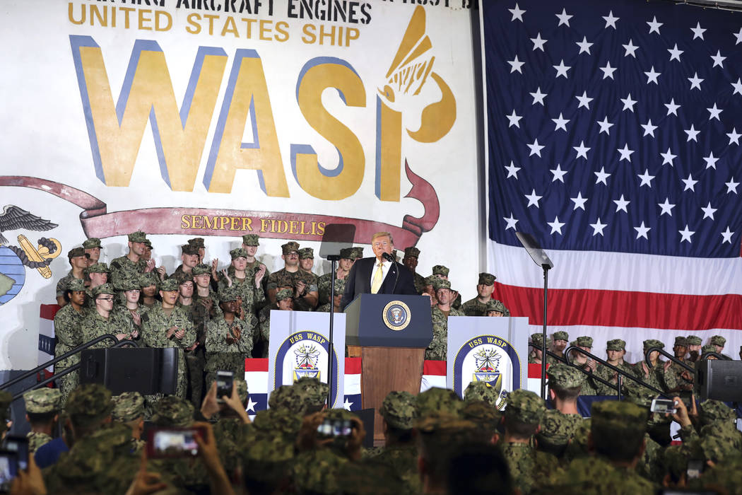 U.S. President Donald Trump speaks to U.S. servicemen at U.S. Navy multipurpose amphibious assa ...