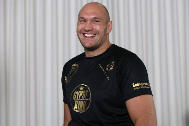 Heavyweight boxer Tyson Fury during a media event at the Top Rank headquarters in Las Vegas, We ...