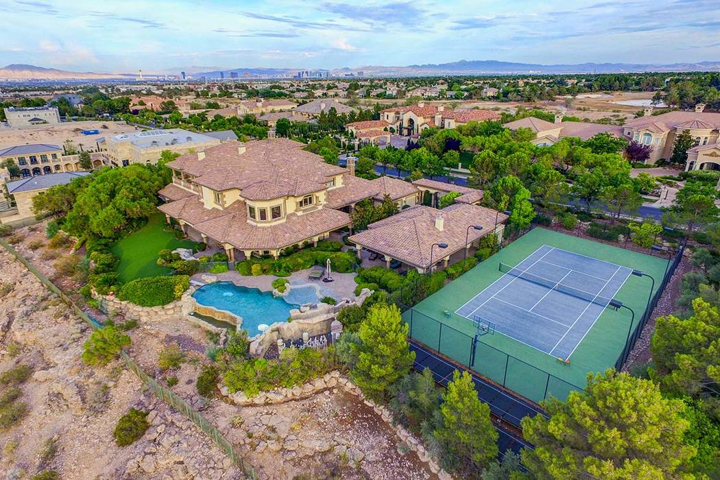 The mansion at 9508 Kings Gate Court in Las Vegas, seen here, has a rental price of $29,995 per ...