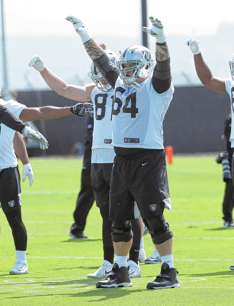 Oakland Raiders guard Richie Incognito (64) during an official team activity at the NFL footbal ...